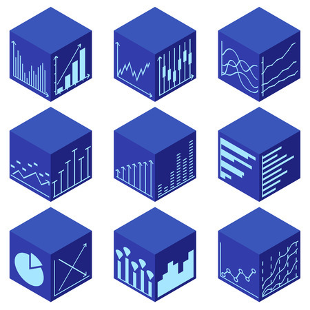 Statistics icons in isometric view. Set of web elements on 3D cube. Simple Graphic, Pie Chart, Column Chart. Thin line Vector illustration