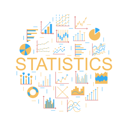 Statistics round color icon. Set of linear web elements. Simple Graphic, Pie Chart, Column Chart. Thin line circle. Vector illustration Ilustrace
