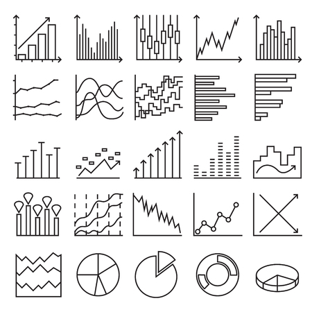 Statistics icons. A set of linear web elements. Simple Graphic, Pie Chart, Column Chart. Vector illustration Ilustrace