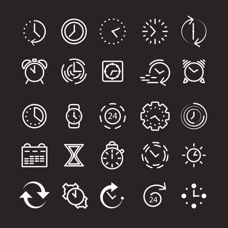 Time and clock icons. Alarm clock and stopwatch elements. Set of white thin line icons. Vector illustration. Ilustrace