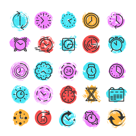 Time and clock icons. Alarm clock and stopwatch elements. Set of black thin line icons on color background. Vector illustration.
