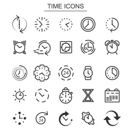 Time and clock icons. Alarm clock and stopwatch elements. Set of black thin line icons isolated on white background. Vector illustration. Ilustrace