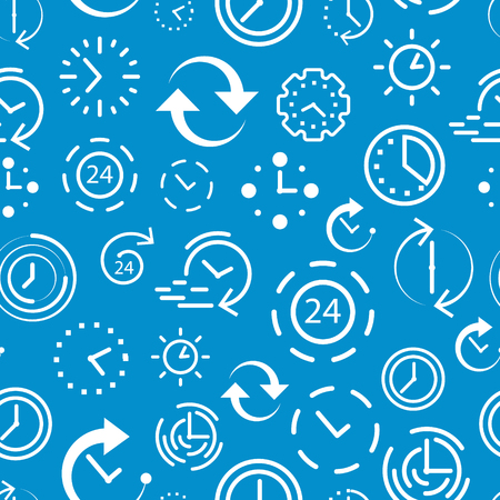 Time and clock icons. Seamless pattern with blue background. Alarm clock and stopwatch elements. Set of white thin line icons. Vector illustration.