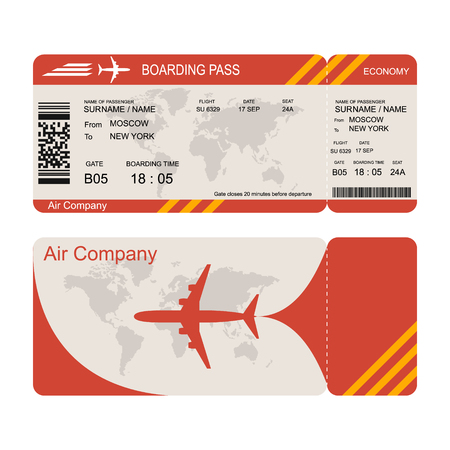 Plane ticket template. Air economy flight. Red design. Boarding Pass to take off the aircraft. Vector illustration isolated on white background