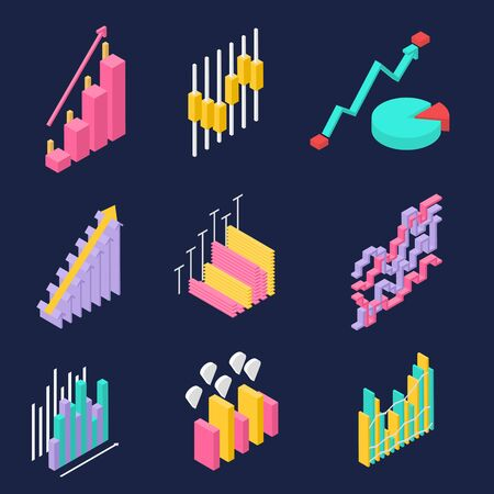 Business, company, website statistics. Set of icons in isometric view. Colorful charts on dark background. Progress and income growth and success. Vector illustration. Ilustrace