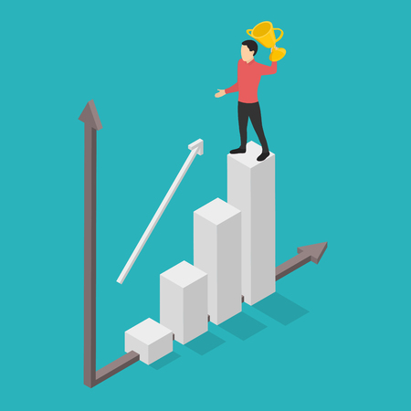Growing statistics graph. Businessman is the winner in isometry. Vector illustration. Ilustrace