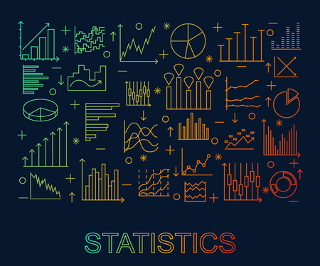 Set Of linear statistics icons. Banner for the web site colorful on dark background. Thin line elements for business. Vector illustration.
