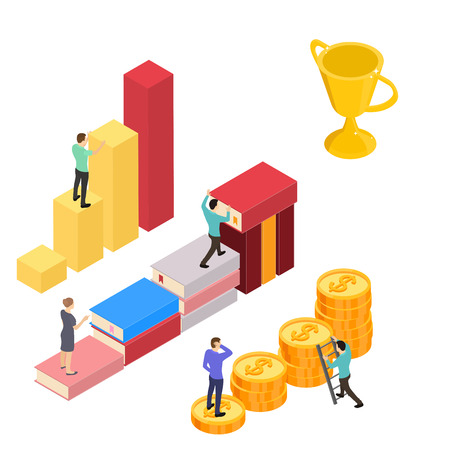 Up the career ladder. Money, books and analysis. The winner in the business. Successful statistics. Gold Cup as a reward. Vector illustration.