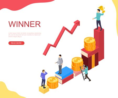 Up the career ladder. Money, books and analysis. The winner in the business. Successful statistics. Vector illustration.