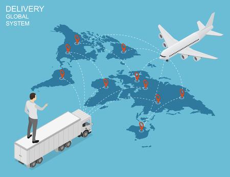 Entrega mundial por avión y camión. El concepto de un sistema de entrega de correo global. Ilustración de vector.