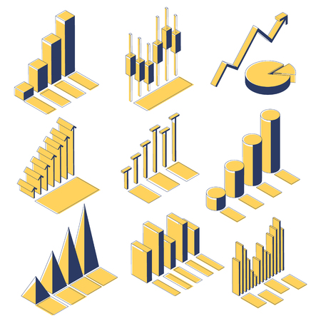 Business, company, website statistics. Set of icons in isometric view. Yellow and black charts isolated on white background. Progress and income growth and success. Vector illustration. Ilustrace
