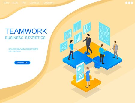 Teamwork in business. Project statistics, people and businessman in isometric view. Puzzle podium. Banner for website. Vector illustration.