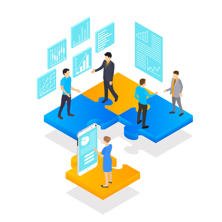 Teamwork in business. Project statistics, people and businessman in isometric view. Puzzle podium. Isolated on white background. Vector illustration. Ilustrace