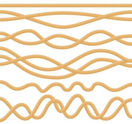 The cable rope set. Vector illustration.