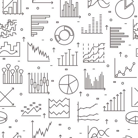 Set Of linear statistics icons. Seamless pattern on white background. Thin line elements for business. Vector illustration. Ilustrace