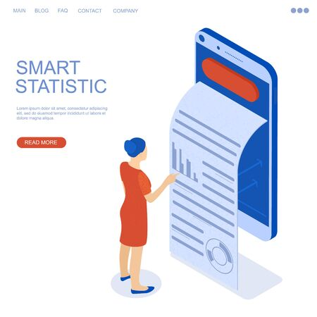Growing statistics graph. Businesswoman is the winner in isometry. Smartphone on white background. Vector illustration.