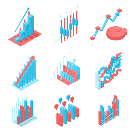 Business, company, website statistics. Set of icons in isometric view. Blue and red. Progress and income growth and success. Vector illustration. Ilustrace