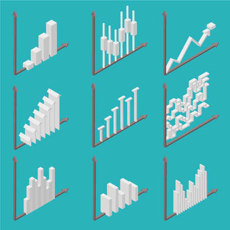 Business, company, website statistics. Set of icons in isometric view. White charts on blue background. Progress and income growth and success. Vector illustration. Ilustrace