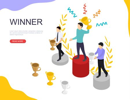 Winner businessman with a prize. Gold silver and bronze cups in isometric veiw. The pedestal for Champions. Best reward for the competition. Banner for website.
