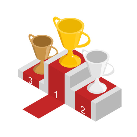 Gold silver and bronze cups in isometric veiw. The podium for the winners. Best reward for the competition. Vector illustration Ilustrace