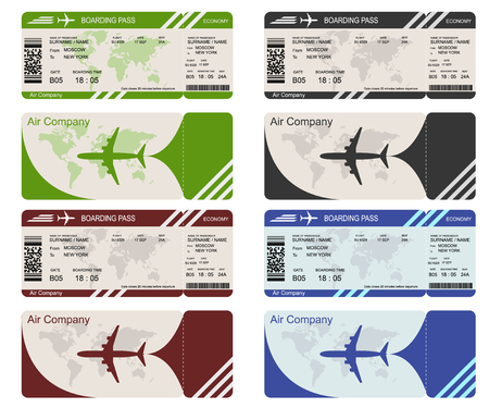 Plane ticket template. Air economy flight. Black, red, blue, and green design. Boarding Pass to take off the aircraft. Vector illustration isolated on white background Ilustrace