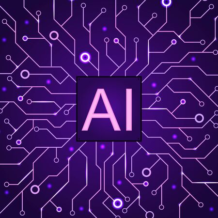 Artificial Intelligence dark purple background. Machine programming and AI chip on computer.  Circuit motherboard modern Technology. Vector illustration