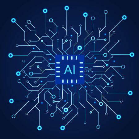 Artificial Intelligence dark blue background. Machine programming and AI chip on computer.  Circuit motherboard modern Technology. Vector illustration Ilustrace