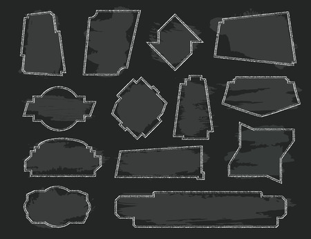 Set of asymmetric frames. White chalk plate on black Board background. Elements for text and menu decoration. Dialog icons. Vector illustration.