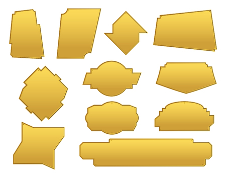 Set of asymmetric frames. Gold texture plate. Elements for text decoration. Dialog icons. Vector illustration.