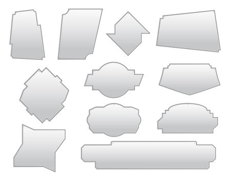 Set of asymmetric frames. The silver textured plate. Elements for text decoration. Dialog icons. Vector illustration.