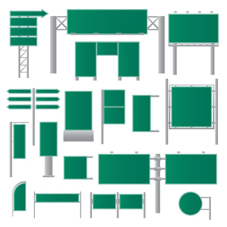Realistic green billboards. Road signs flat. Advertisement blank. Empty banners. Vector illustration.