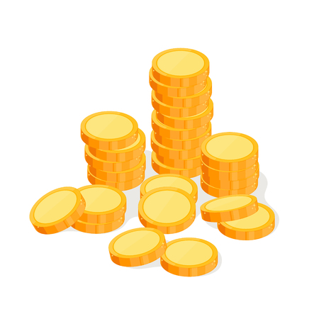 Gold coin. Lots of money isometric view. Wealth success and good fortune. Vector illustration. Isolated on white background.