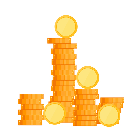 Gold coin. Lots of money flat style. Wealth success and good fortune. Vector illustration. Isolated on white background. Ilustrace