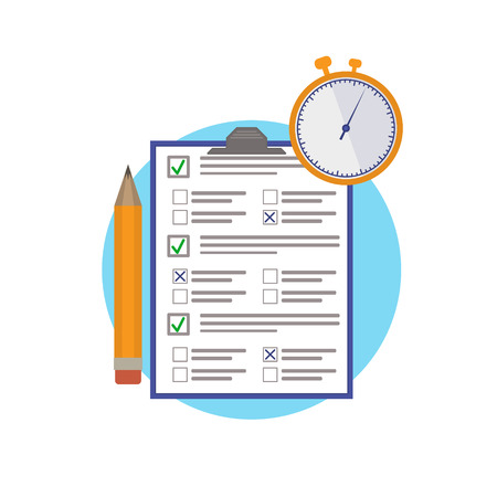 Online exam. Test on paper on time. Icon element for design. Question-answer. A pencil and a stopwatch. Vector flat illustration.