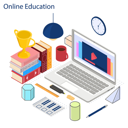 Online education. Video tutorial is in the isometric. The lessons on the laptop. Books, geometric shapes and a reward. Bright color design for web banner. Vector illustration.