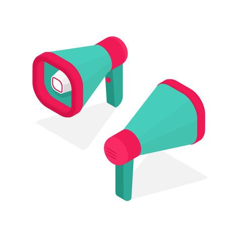 Isometric creative Megaphone. Pink and green bullhorn. Loudspeaker 3D view. Speaker isolated on white. Vector illustration. Ilustrace