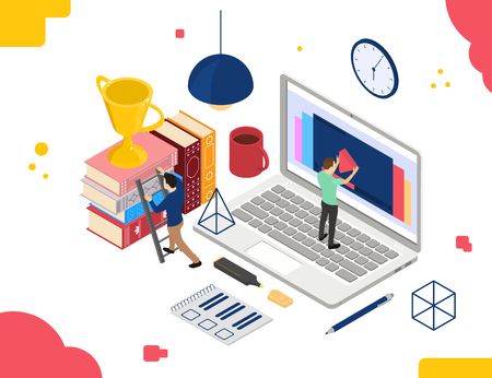 Online education. Video tutorial is in the isometric. The lessons on the laptop. Books, people and reward. Bright color design for web banner. Vector illustration.