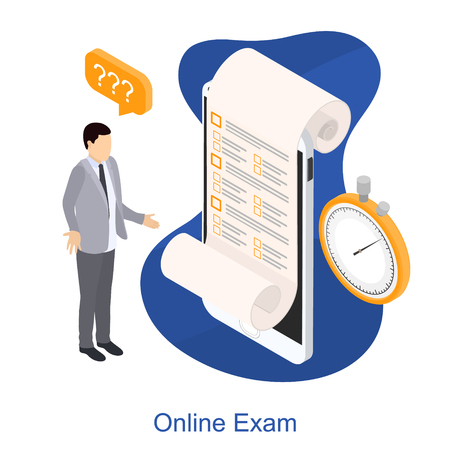 Online exam on a smartphone. Online time test in isometry. Question-answer concept. Man with question mark. Vector illustration. Ilustrace