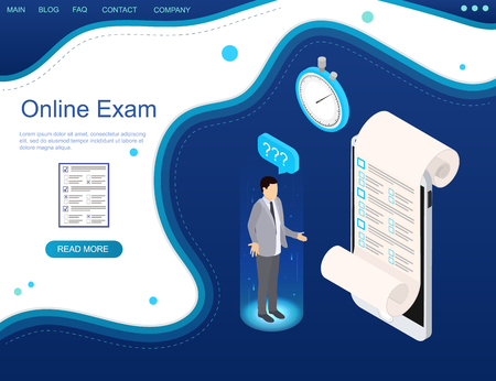 Web banner. Online exam on a smartphone. Online time test in isometry. Question-answer concept. Man with question mark. Blue background. Vector illustration. Ilustrace