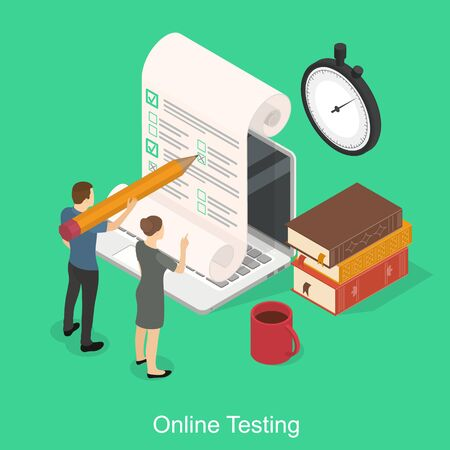 Online exam on a laptop. Online time test in isometry. Question-answer concept. People with a pencil and books and a stopwatch. Vector illustration on green background. Ilustrace