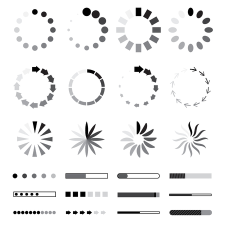 Circle web Preloaders and progress bar icons. loading elements. Black and grey isolated on white background. Download or upload status vector illustration