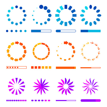 Circle web Preloaders and progress bar icons. loading elements. Colot isolated on white background. Download or upload status vector illustration