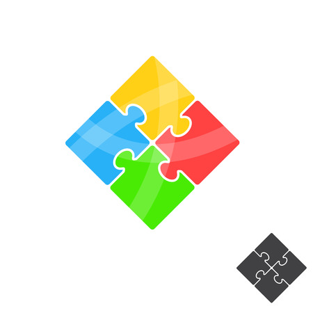 Puzzle icon. Simple stylish design. Color label and black silhouette. Flat style on white background. Site or card element. Successful teamwork. Vector illustration. Ilustrace