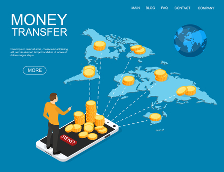 Concept of money transfer online around the world. Financial operations in online banking. World map. Vector illustration. Ilustrace
