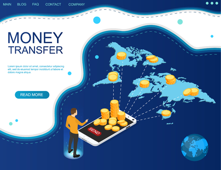 Concept of money transfer online around the world. Financial operations in online banking. Blue web banner. Vector illustration.
