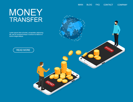 Concept of money transfer online around the world. Financial operations in online banking. Mobile bank. Vector illustration. Ilustrace