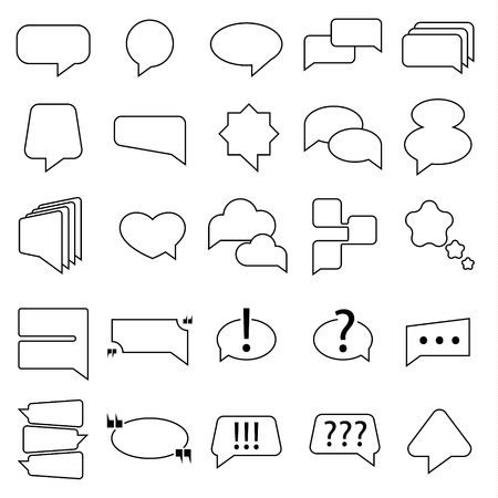 Speech bubble. Cartoon objects of thought and speech. Plate for text. Icons for mobile, website, books and comics. Linear style on white background. Vector illustration.