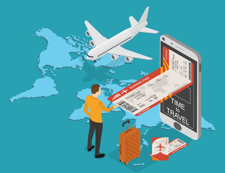 Online booking of plane tickets and travel. Mobile e-boarding pass in the isometric. Tourist buying a ticket. Plane and suitcase on the background of the world map. Vector illustration.