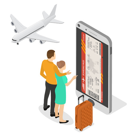 Online booking of plane tickets and travel. Mobile e-boarding pass in the isometric. Couple of tourists. The plane and the suitcase. Vector illustration.