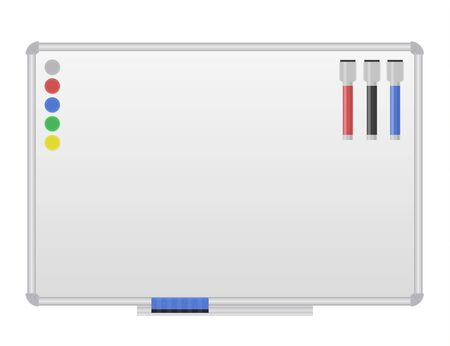 White magnetic marker Board. Blank whiteboard for drawing, presentation, to-do list. Isolated on white background. Vector illustration. Ilustrace